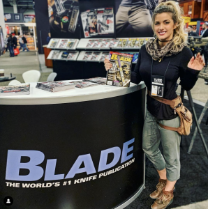 Working the BLADE booth during SHOT Show 2019